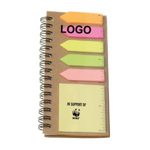 Notebook with Sticky Notes and Flags - Natural