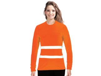 Ladies Flouro Long Sleeve Moisture Management Crew Neck Safety T-Shirt With Reflective Strip from Boland Promotions